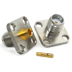 SMA 4Hole Panel Mount For RG405, .085 Semi-Rigid Cable Passivated SS 18GHz