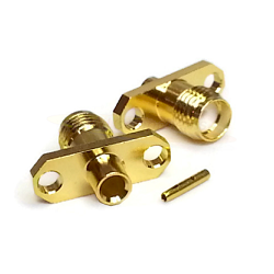 SMA Two Hole Panel Mount Female RG402 .141 SemiRigid Cable Gold Brass