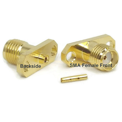 Gold Plated SMA Two Hole Panel Mount for .047 Semi-Rigid Cable Brass Connector