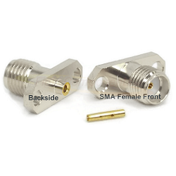 SMA 2Hole Panel Mount Jack for .047 Semi-Rigid Cable Captive Contact Connector