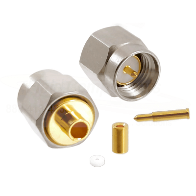 SMA Male Plug for .034 Semi-Rigid Cable Solder 50ohm DC-18GHz Passivated Stainless Steel Connector
