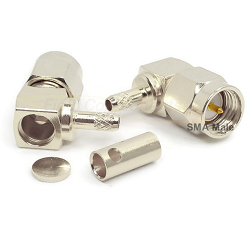 SMA Right Angle Male Plug for RG174D, 188D, 316D Solder 50ohm DC-18GHz Brass Nickel Connector