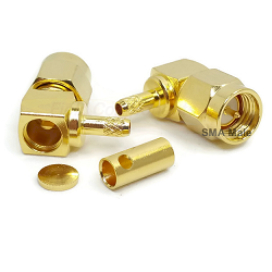 SMA Right Angle Male Plug for RG174D, 188D, 316D Solder 50ohm DC-18GHz Stainless Steel Gold Connecto