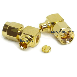 SMA Right Angle Male Plug for RG402, .141 Semi-Rigid Cable Solder 50ohm DC-12.4 GHz Brass Gold Conne
