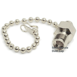 SMA Female Jack Dust Cap with Chain 50ohm DC-18.0GHz Stainless Steel Passivated Connector