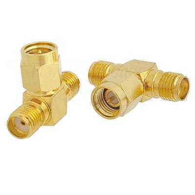 SMA Female Jack to SMA Male Plug to SMA Female Jack Tee Adapter Gold Plated Brass 50ohm