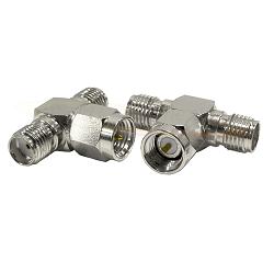 SMA Female Jack to SMA Male Plug to SMA Female Jack Tee Adapter Nickel Plated Brass 50ohm