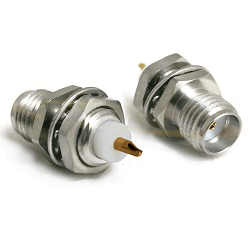 SMA Front Mount Bulkhead Jack with Solder Cup Captive Contact Connectors