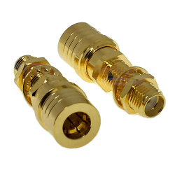 SMA Female Bulkhead Jack to QMA Male Plug Adapter Gold Plated Brass 50ohm