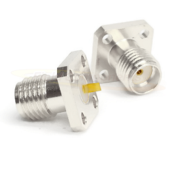 SMA Four Hole .375 Square Panel Mount Jack with .050 Tab Non-Captive Contact Connectors