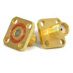SMA Female 4 Hole Panel Mount Jack with Hermetic Seal, O-Ring and .115 by .020 Contact Connectors