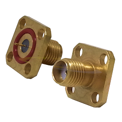 SMA Female Flange Mount Jack, Hermetically Sealed with .246 Tab Post Contact 50ohm DC-18.0GHz Stainl