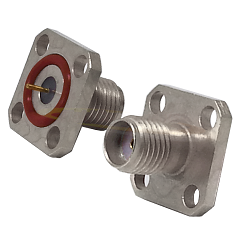 SMA Female 4 Hole Flange Mount , Hermetically Sealed Stainless Steel with .246 Tab Post Connectors