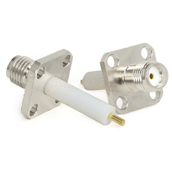 SMA Four Hole .375 Square Panel Mount Jack with .590 Extended Teflon, Captive Contact Connectors
