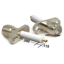 Nickel Plated SMA Female 2 Hole .115 Post Captive Contact .590 Extended Dielectric Brass