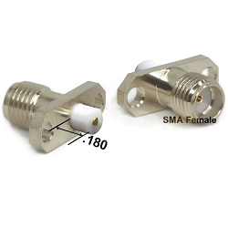 SMA Female 2 Hole Panel Mount Jack with .180 Extended Teflon and Blunt Post Contact Connectors