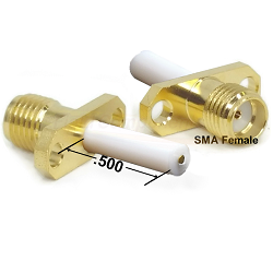 SMA Female 2 Hole Panel Mount Jack with .500 Extended Teflon, Blunt Post Captive Contact Connectors