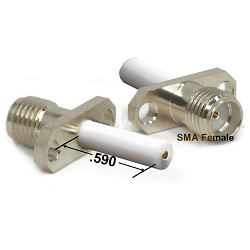 SMA Female 2 Hole Panel Mount Jack with .590 Extended Teflon and Blunt Post Contact Connectors