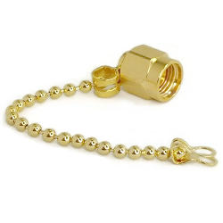 SMA Male Dust Cap with Chain Gold Plated Stainless Steel
