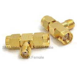 SMA Male Plug to SMA Female Jack to SMA Male Plug Tee Adapter Gold Plated Brass 50ohm