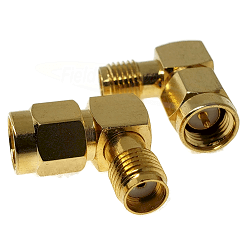 SMA Right Angle Male Plug to SMA Female Jack Adapter Gold Plated Brass 50ohm