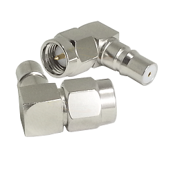 SMA Right Angle Male Plug to QMA Female Jack Adapter Nickel Plated Brass 50ohm