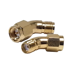 SMA 45 Degree Right Angle Male to Female Gold Adapter 26GHz
