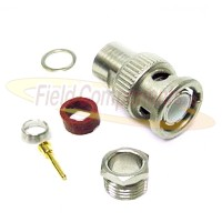 BNC Male Plug for RG59, RG62, RG71, RG71, RG140, RG210, RG302 Clamp 50ohm DC-4GHz Brass Silver Conne