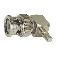 BNC Right Angle Male Plug to QMA Female Jack Adapter Nickel Plated Brass 50ohm