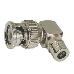 BNC Right Angle Male Plug to QMA Male Plug Adapter Nickel Plated Brass 50ohm
