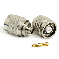 TNC Straight Male Reverse Polarity Solder Plug for RG402, .141 Semi-Rigid Coax, 50 Ohm, Nickel Plate
