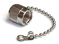 TNC Male Dust Cap with Chain 50ohm DC-11.0GHz Brass Silver Connector
