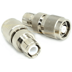 RP TNC Male Screw-on to RP TNC Female Push-on Adapter 11GHz Brass Nickel