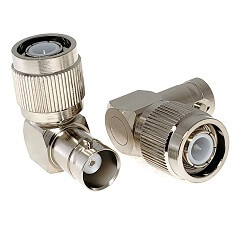 TNC Right Angle Male Plug to BNC Female Jack Adapter Nickel Plated Brass 50ohm