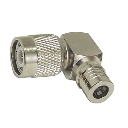 TNC Right Angle Male Plug to QMA Male Plug Adapter Nickel Plated Brass 50ohm