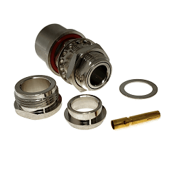 N Female Bulkhead Jack for LMR400 , Belden 9913 Clamp 50ohm DC-12.4GHz Brass Nickel Connector