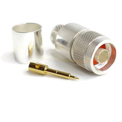 Type N Male Crimp Connector for LMR-600 Silver Plated Brass