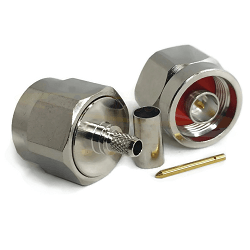N Male Straight Plug with Hex for LMR200 Crimp 50ohm DC-12.4GHz Brass Nickel Connector
