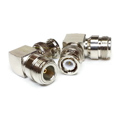 N FeRight Angle Male Jack to BNC Male Plug Adapter Nickel Plated Brass 50ohm