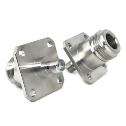 N Female 4 Hole Panel Mount Jack to SMA Female Jack Adapter Passivated Plated Stainless Steel 50ohm