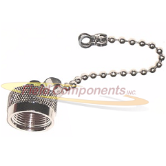 N Male Dust Cap with Chain 50ohm DC-12.4GHz Brass Silver Connector