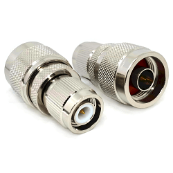 N Male Plug to TNC Male Plug Adapter Nickel Plated Brass 50ohm
