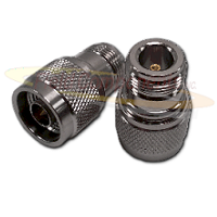 N Reverse Thread Male Plug to N Female Jack Adapter Nickel Plated Brass 50ohm
