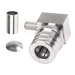 QMA Male Right Angle Connector for RG174 RG316 LMR100 Brass Plated Nickel
