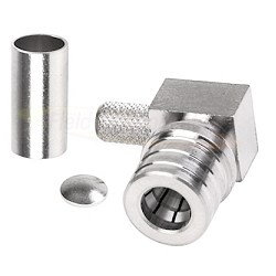 QMA Right Angle Male Connector for LMR200 Crimp Brass Plated Suco