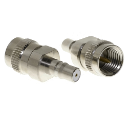 QMA Female Jack to Mini-UHF Male Plug Adapter Nickel Plated Brass 50ohm