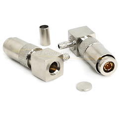 1.0/2.3 Right Angle Male Plug For RG174, RG316 Connector Nickel Plated