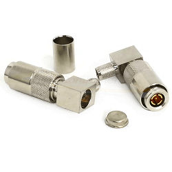 1.0/2.3 Right Angle Male Connector For RG58, RG141 Cable Nickel Plated