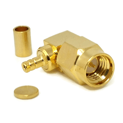 SSMA Right Angle Male for RG178 RG196 Crimp 50ohm Brass Gold Connector
