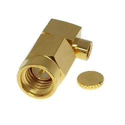 SSMA Right Angle Male for .047 Semi-Rigid Cable Solder 50ohm Stainless Steel Gold Connector